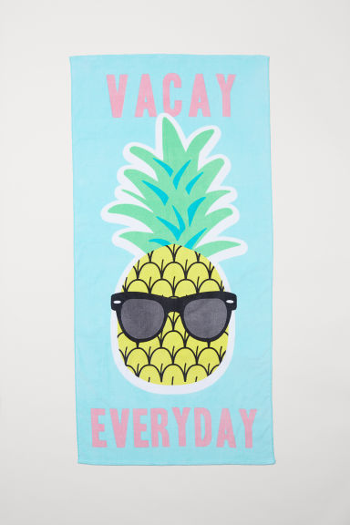 Beach towel - Turquoise/Pineapple -  | H&M