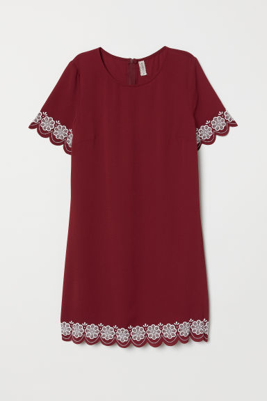 Short-sleeved dress - Burgundy -  | H&M CN