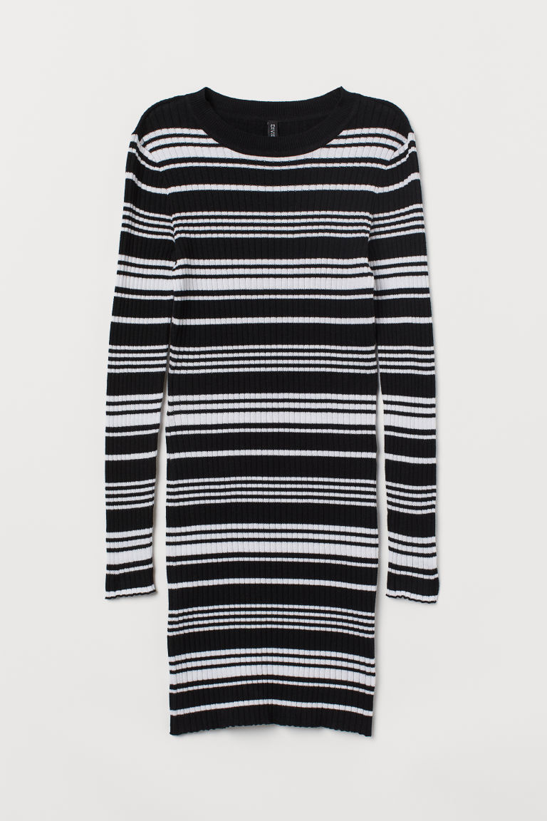 Fitted dress - Black/White striped - Ladies | H&M CN