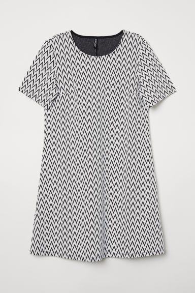 Short-sleeved dress - White/Black patterned -  | H&M CN