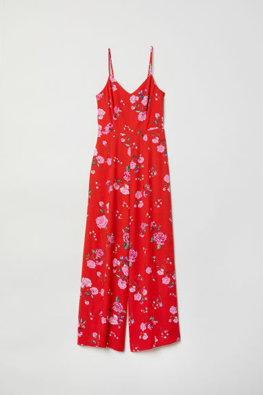 Patterned jumpsuit - Bright red/Floral - Ladies | H&M CN