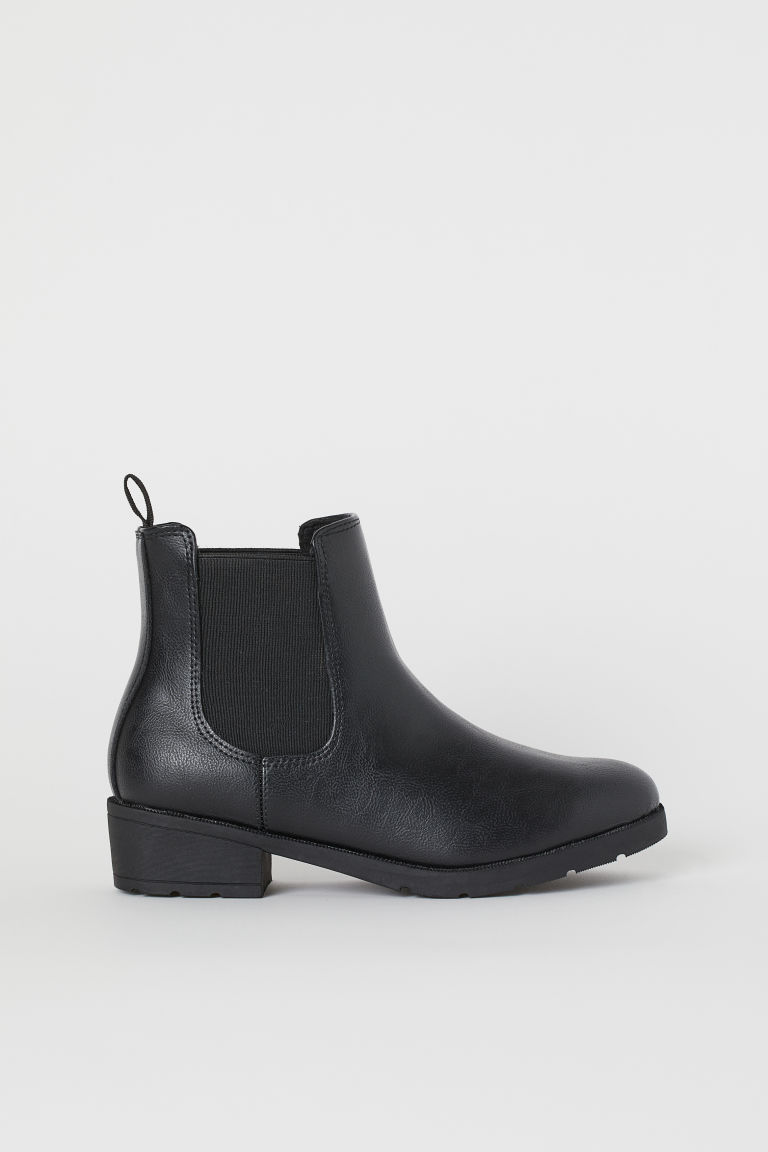Ankle Boots - Black/faux shearling-lined - Kids | H&M US