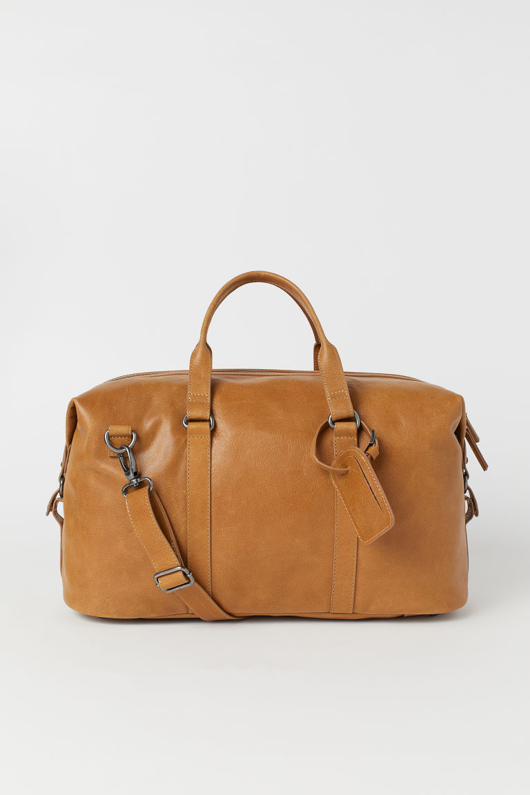 Leather weekend bag - Cognac brown - Men | H&M