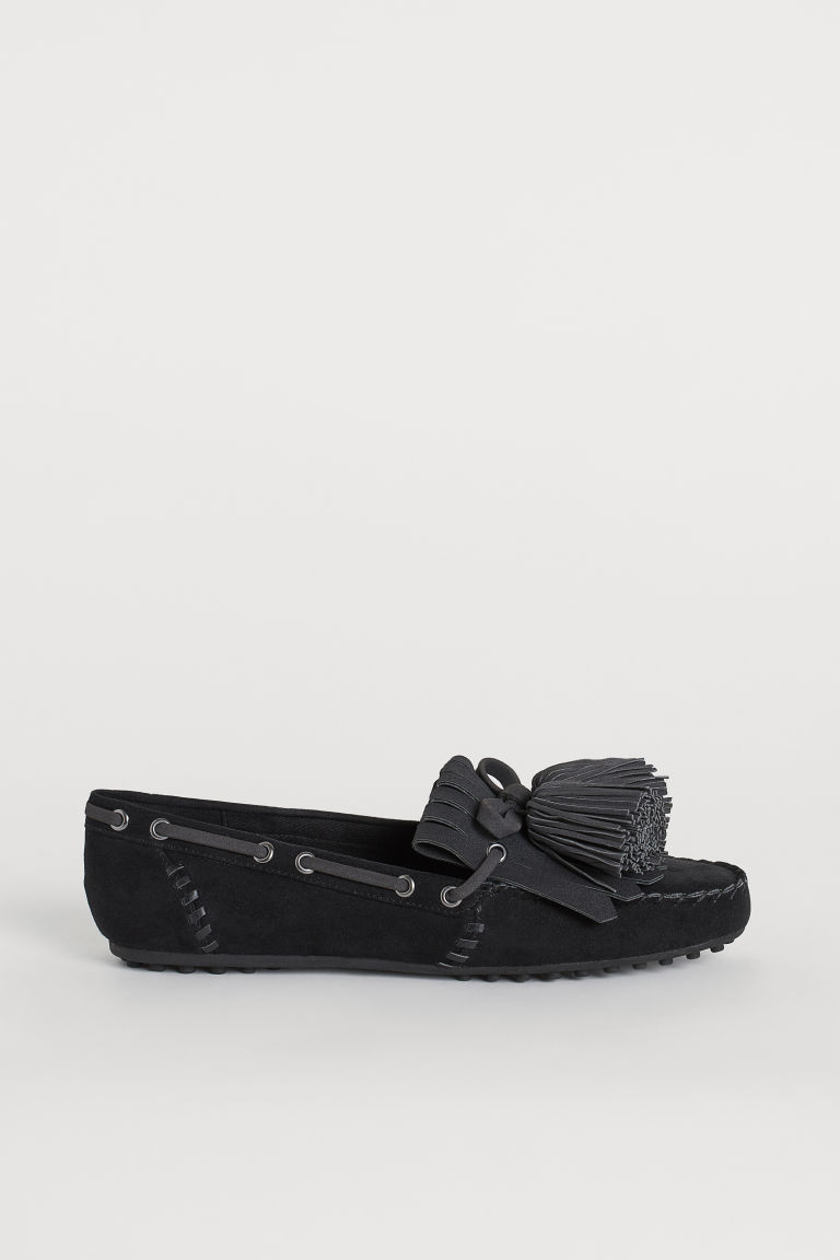 Moccasins with fringes - Black - Ladies | H&M IE