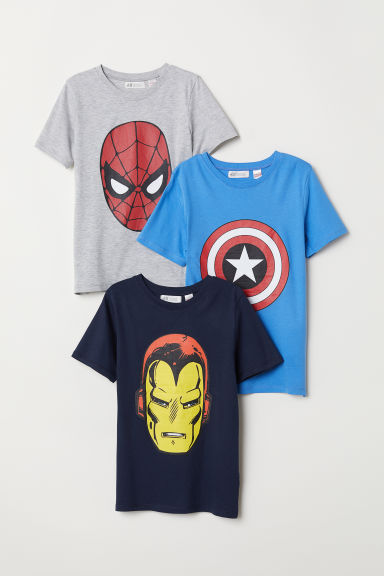 3-pack printed T-shirts - Light grey marl/Avengers - Kids | H&M