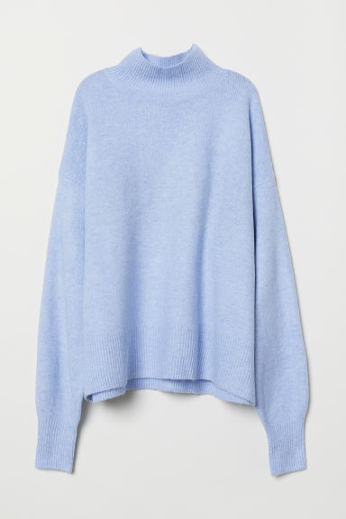 Knitted jumper with a collar - Light blue marl - Ladies | H&M