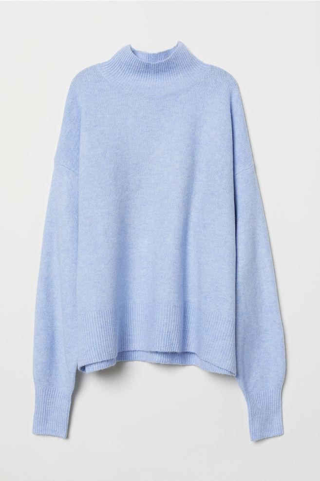 d1338c9c7e9 Pletený svetr s límcem - Bleděmodrý melír - ŽENY