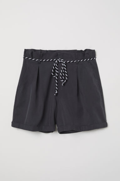 Shorts with a tie belt - Dark grey - Ladies | H&M CN
