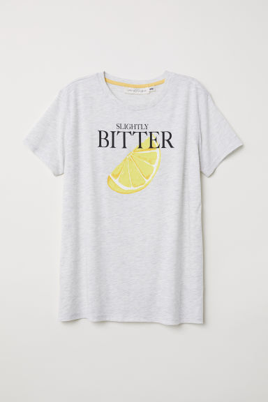 Printed T-shirt - Grey marl/Lemon - Ladies | H&M