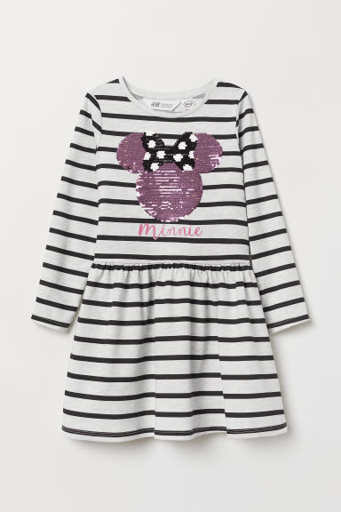 Dress with sequins - Light grey/Minnie Mouse - Kids | H&M
