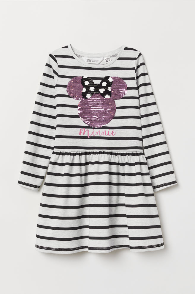 51cff2d47d08 Dress with sequins - Light grey/Minnie Mouse - Kids | H&M ...