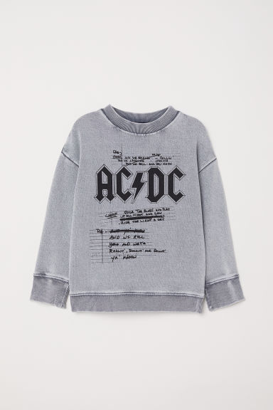 Sweatshirt with Printed Design - Grey/AC/DC - Kids | H&M US