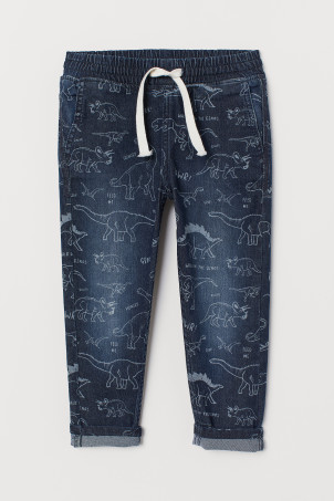 Patterned denim joggers