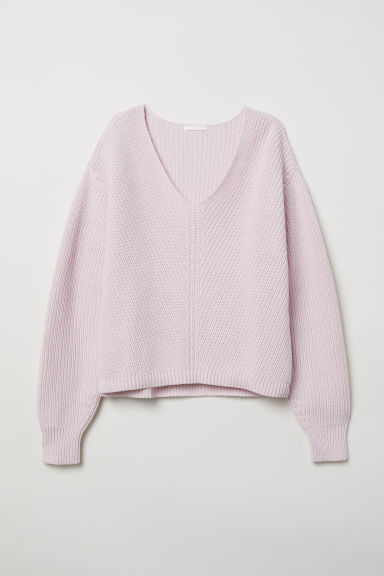 V-neck cotton jumper - Light pink - Ladies | H&M