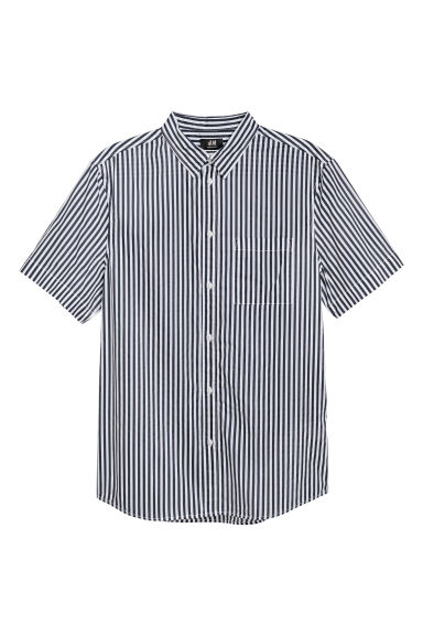 Cotton shirt Regular Fit - Dark blue/White striped - Men | H&M