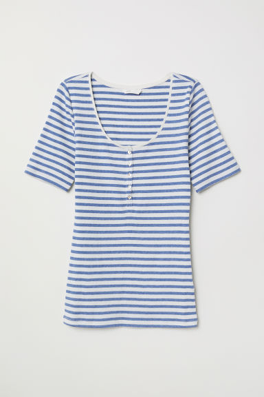 Ribbed jersey top - White/Blue striped - Ladies | H&M CN
