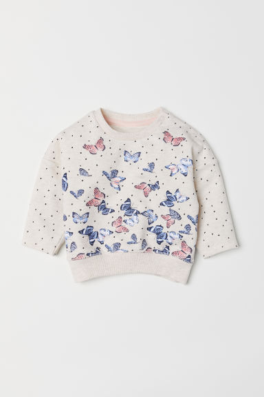 Sweatshirt - Light beige/Butterflies - Kids | H&M CN