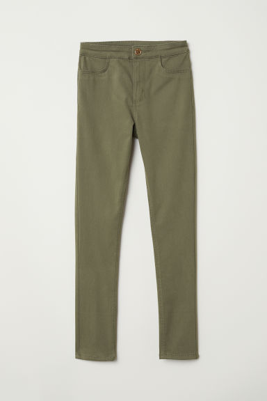 Twill trousers Slim Fit - Khaki green - Kids | H&M