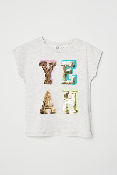 Top with a print motif - Light grey marl/Yeah -  | H&M