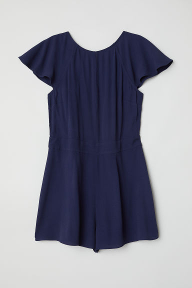 Tuta corta tessuto increspato - Blu scuro - DONNA | H&M IT