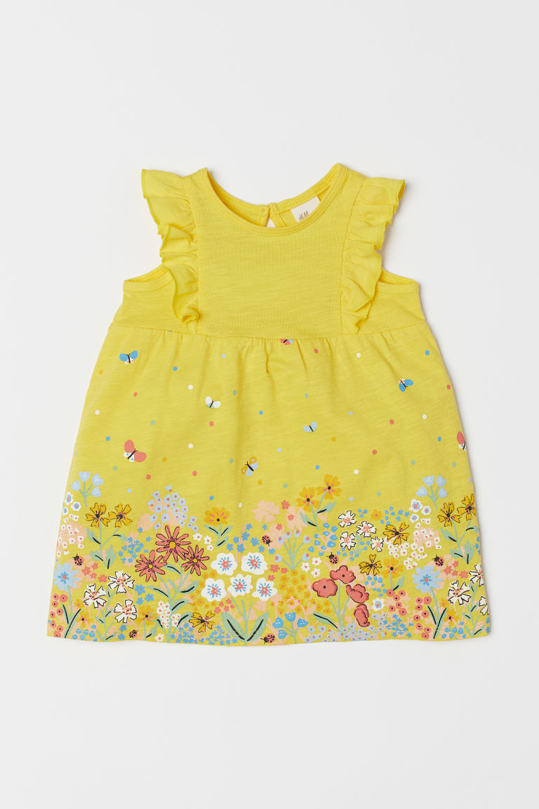 Slub jersey dress - Yellow/Floral - Kids | H&M