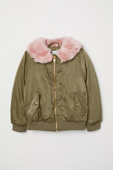 Faux fur collar bomber jacket - Khaki green - Kids | H&M