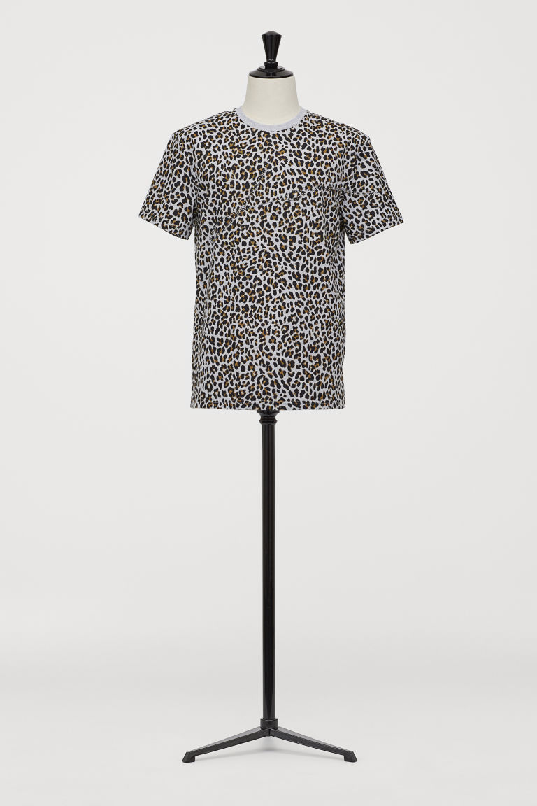 T-shirt with Studs - Gray melange/leopard print - Men | H&M US