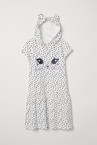 Jersey dress with a hood - Natural white/Cat - Kids | H&M