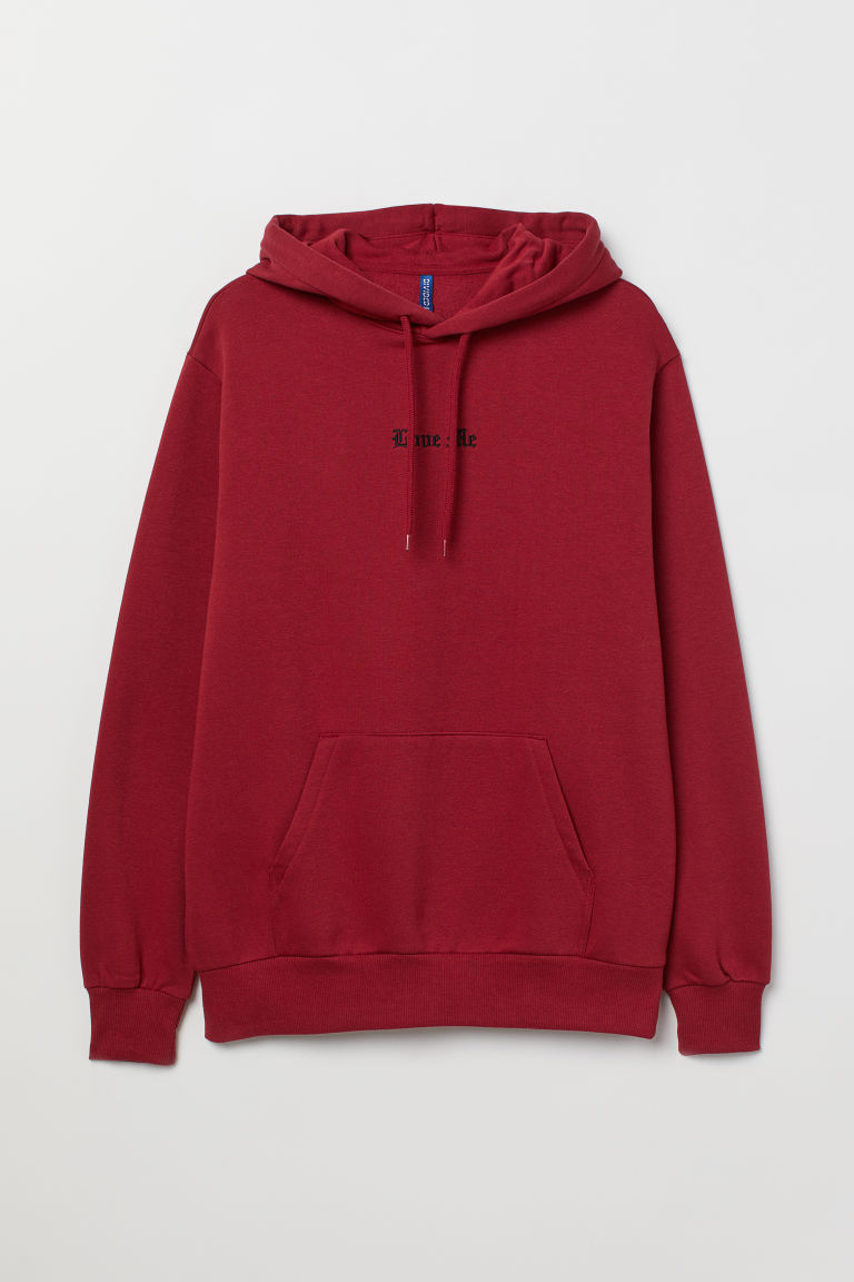 Hooded top with a motif - Dark red/Love Me - Men | H&M