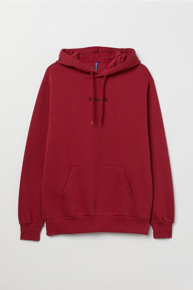 01757c649 Hooded Sweatshirt with Motif - Dark red/Love Me - Men   H&M ...
