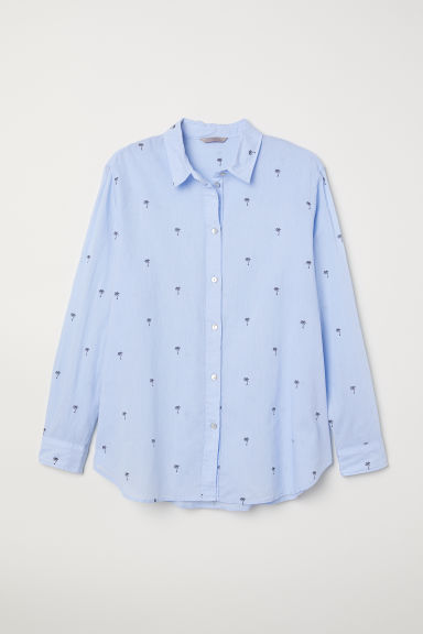 H&M+ Cotton shirt - Light blue/Palm trees - Ladies | H&M CN