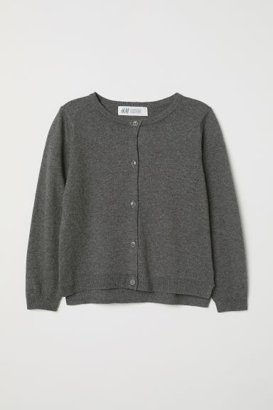 Fine-knit cardigan - Dark grey - Kids | H&M CN