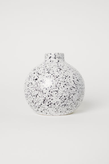 Round stoneware vase - White/Black speckled - Home All | H&M CN