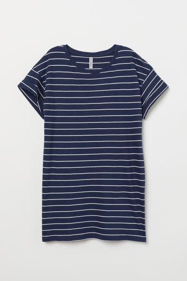 Long T-shirt - Dark blue/White striped -  | H&M CN