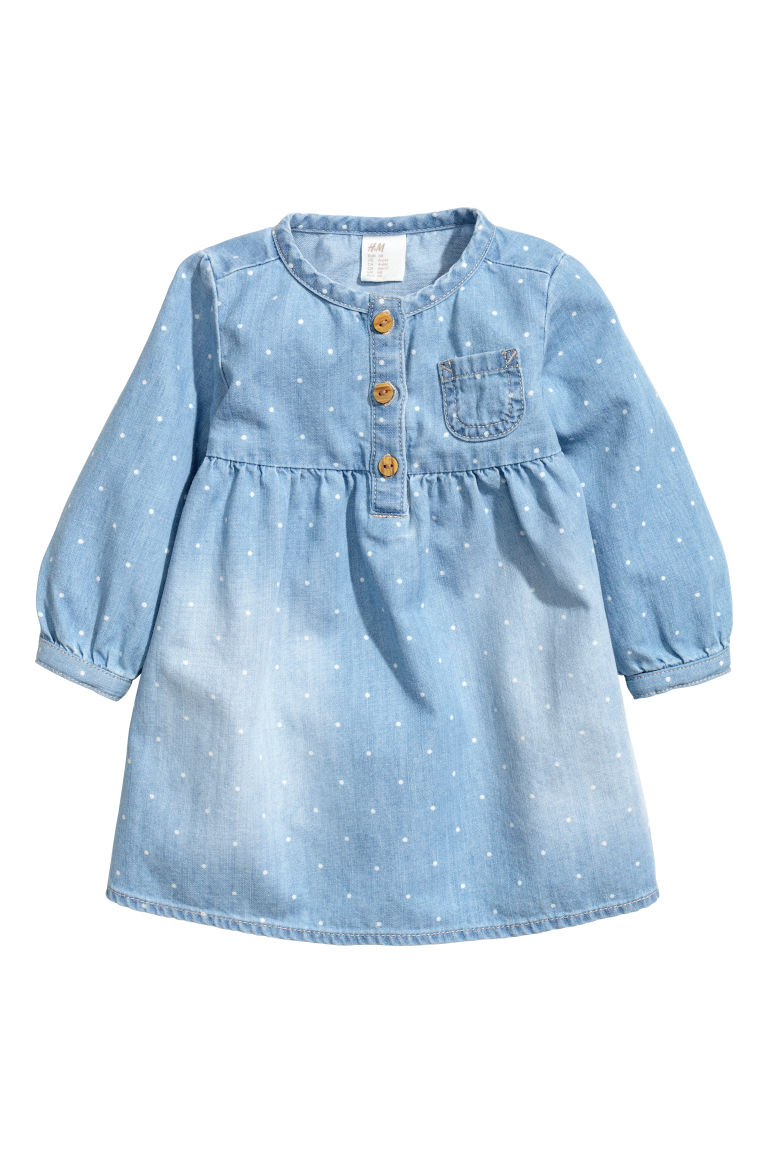 Denim dress and jersey tights - Denim blue - Kids | H&M CN