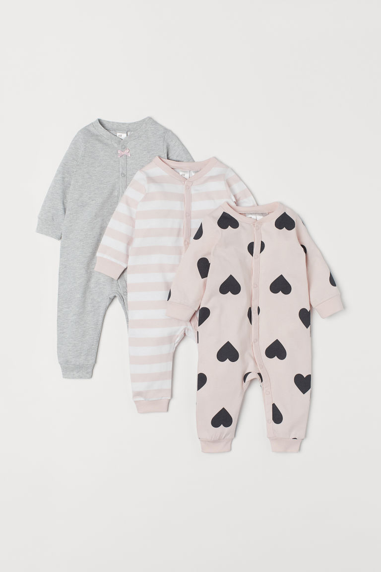 3-pack cotton pyjamas - Light pink/Hearts -  | H&M