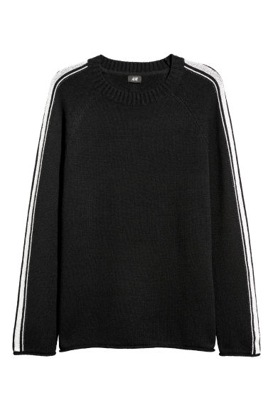 Jacquard-knit jumper - Black -  | H&M IE
