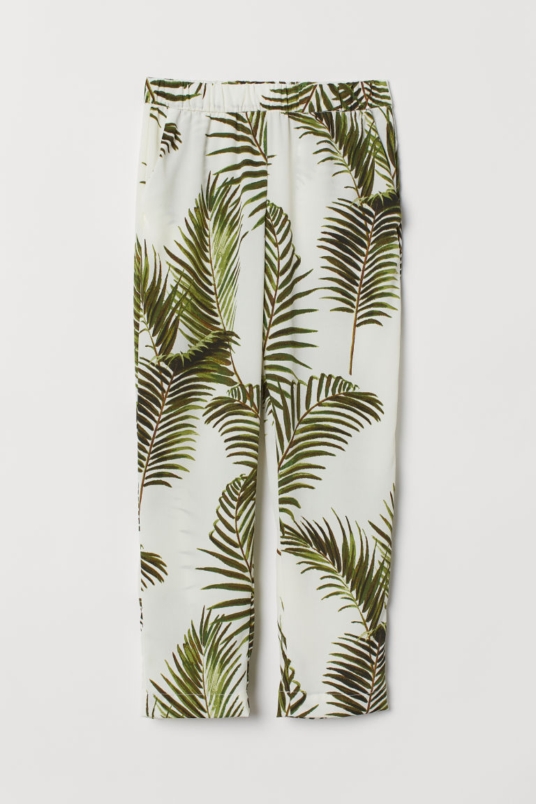 Crêped Pants - Natural white/palm leaves - Ladies | H&M US