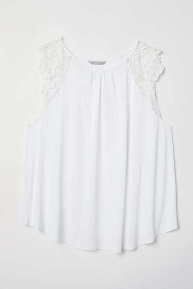 H&M+ Jersey top with lace - White - Ladies | H&M