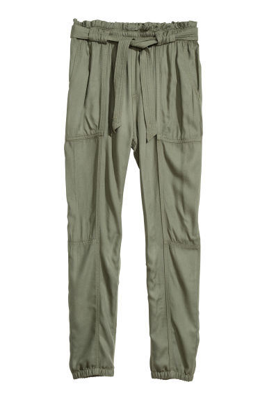 Pull-on trousers with a belt - Khaki green - Kids | H&M