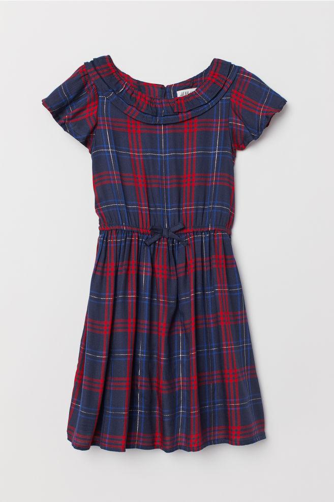 e693b0539f31 Mønstret kjole - Mørk blå Rutet - BARN