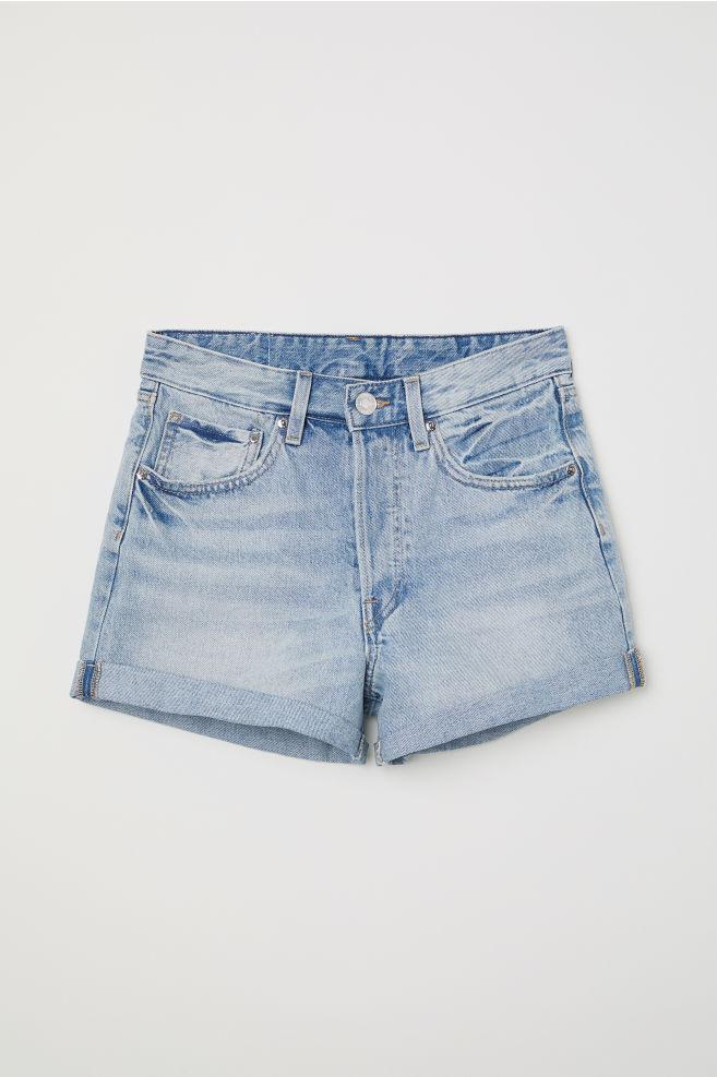 8b1511b2ad Mom Fit Denim Shorts - Light denim blue - | H&M ...