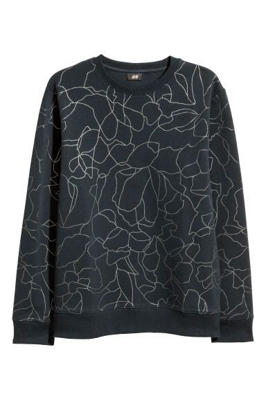 Patterned sweatshirt - Dark blue/Silver-coloured - Men | H&M