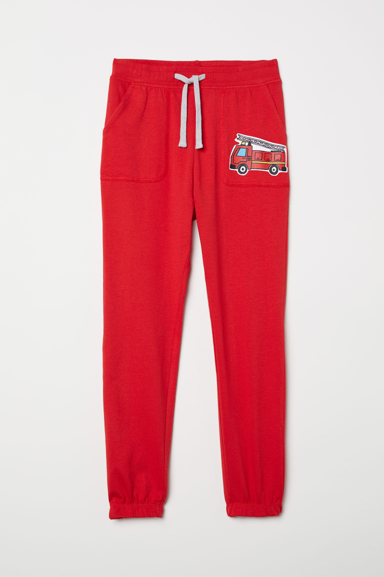 Slub jersey joggers - Red/Fire engine - Kids | H&M