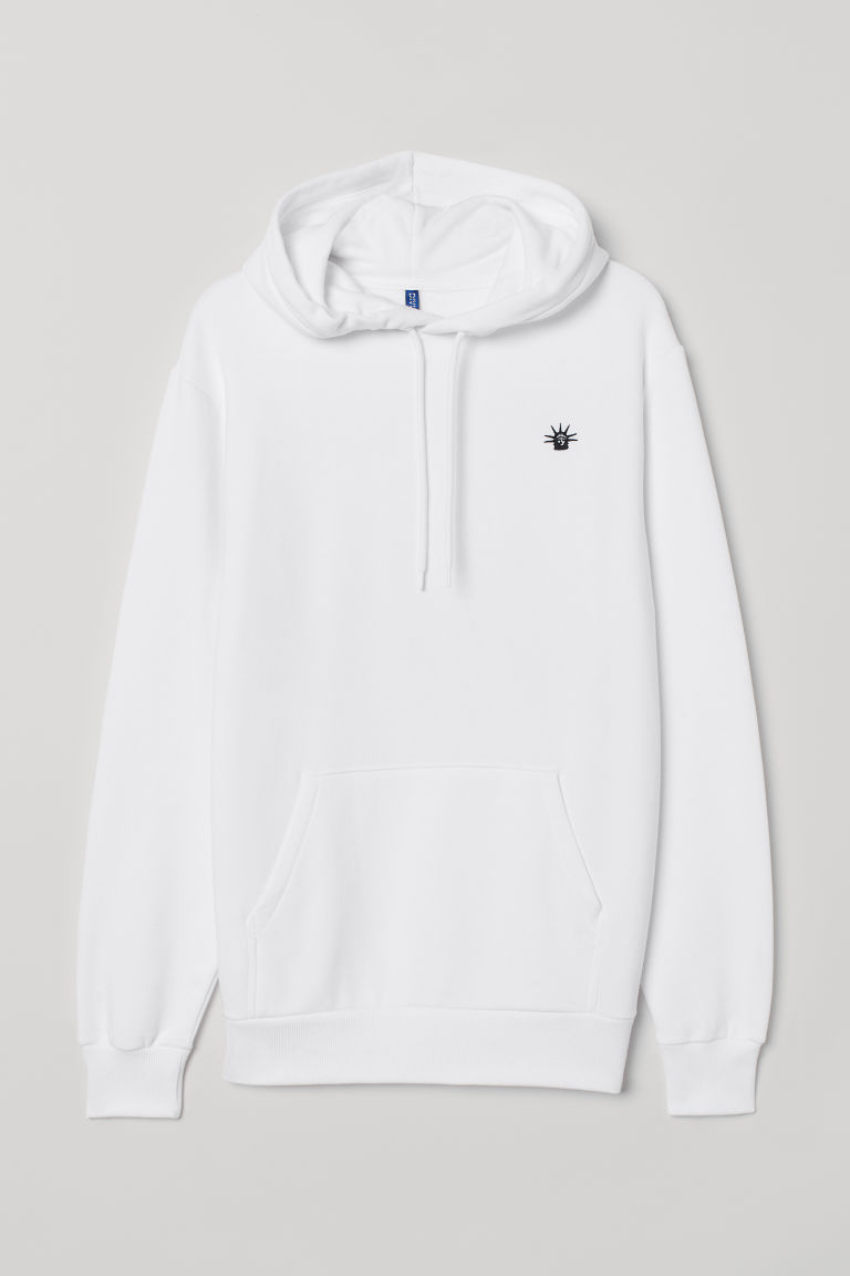 Hooded top with a motif - White/Empire State - Men | H&M IE