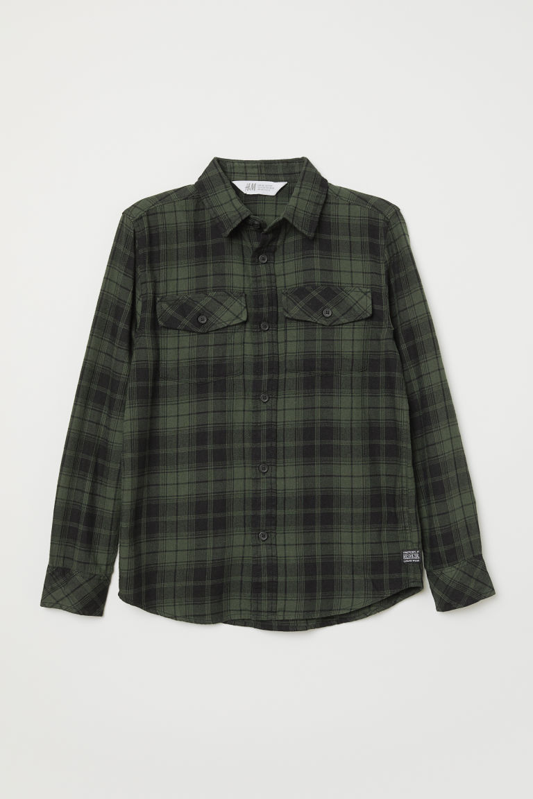 Checked flannel shirt - Dark green/Checked - Kids | H&M