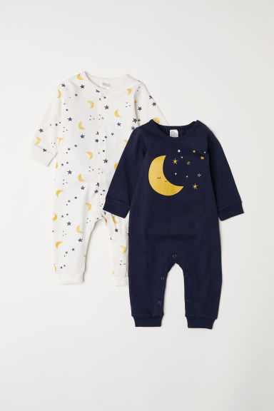 2-pack jersey pyjamas - Dark blue/Moon -  | H&M
