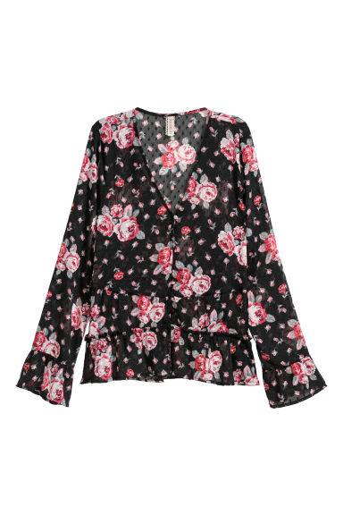Patterned blouse - Black/Flowers -  | H&M CN