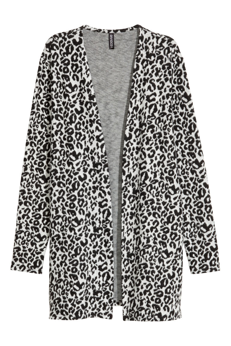 Jacquard-knit cardigan - Light grey/Leopard print - Ladies | H&M IE