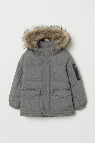 Padded hooded jacket - Dark grey - Kids | H&M CN